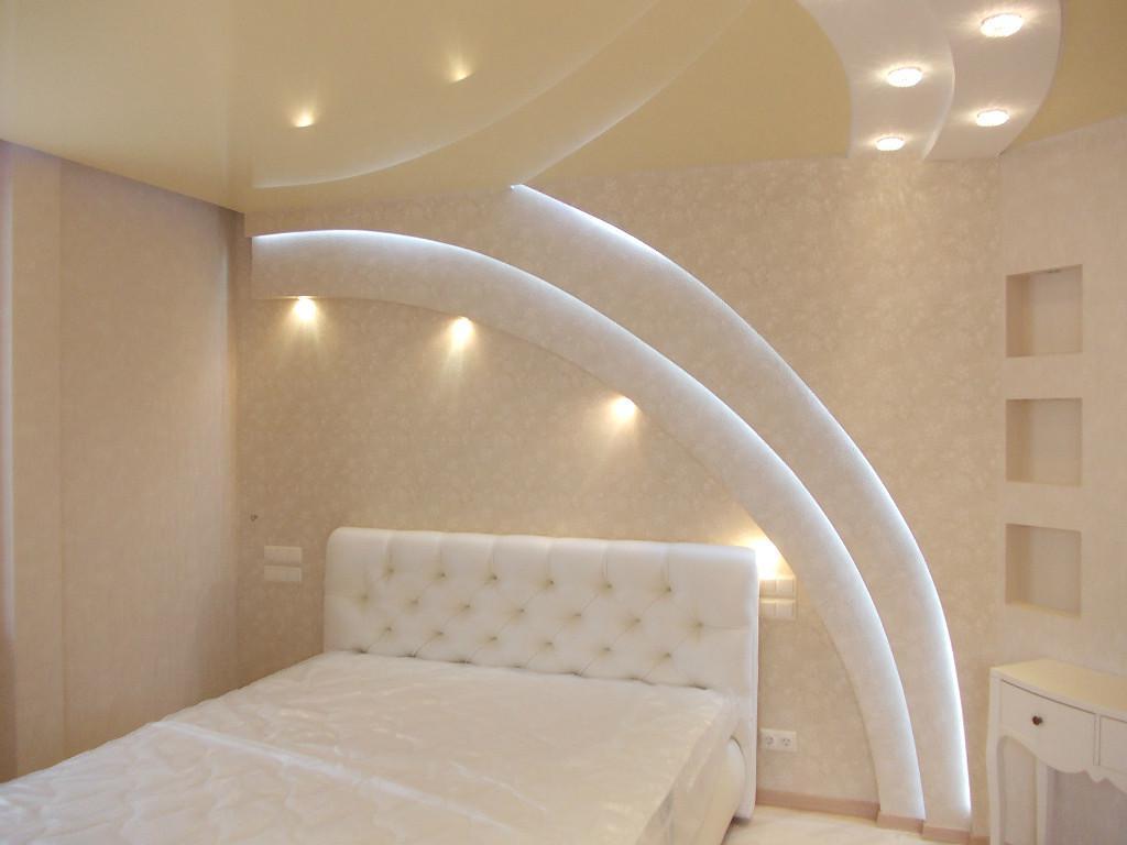 Двух уровненные потолки из гипсокартона с подсветкой