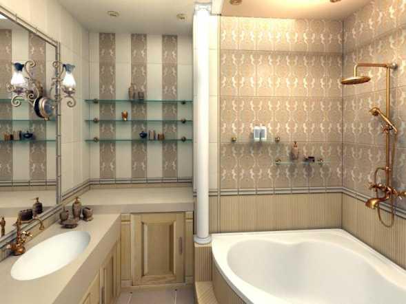 Дизайн золотой ванной комнаты